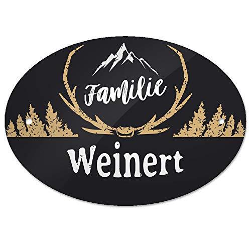 Eurofoto Türschild mit Namen Familie Weinert und rustikalem Motiv mit Geweih | für den Innenbereich | Klingelschild mit Nachnamen