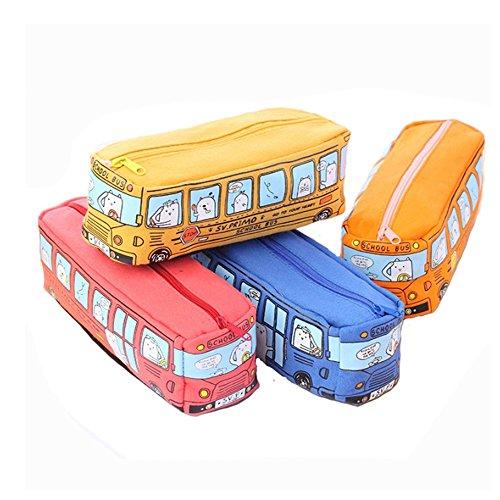Estuche para lápices de lona con diseño de autobús escolar de dibujos...
