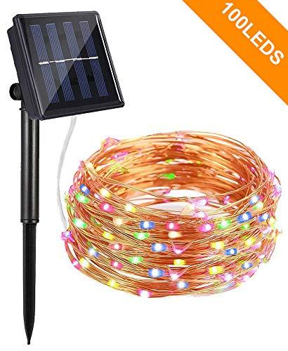 Bovon Lichterkette Außen, Solar LED Lichterkette, 100 LED, 10m, Wasserdicht IP65, Außenbeleuchtung Solarlichterkette für Gärten, Häuser, Tanzen, Halloween, Weihnachten, Hochzeiten (Mehrfarbig)