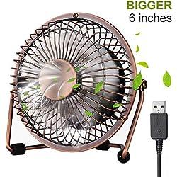 iVoler Mini Ventilateur USB Fan en Aluminium, 360 Degrés Rotation, Portable de 6 Pouces, Silencieux Ventilateur de Bureau/Table pour PC, Ordinateur Portable, Netbook, Maison, Bureau, etc. - Bronze