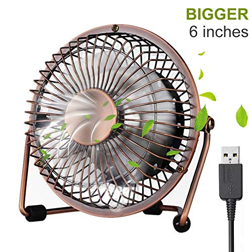 iVoler 6 Zoll Aluminium Mini Tischventilator/Fan 360° Drehung Neigbar USB Ventilator Super Leisem Kraftvoll Tragbarer Metall-Lüfter für PC MAC Notebook, Büro zu Hause Schule - Bronze -