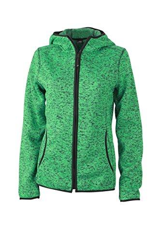 2009 Fleece (James & Nicholson Damen Sweatshirt Fleece Ladies'Knitted Hoody grün (Green-Melange/Black) Small)