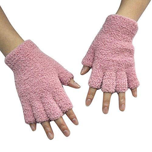 OSYARD Damen Herren Halbfinger Handschuhe Fäustlinge Wollhandschuhe Winterhandschuhe Strickhandschuhe, Unisex Handschuhe Fingerlose Fleece Fuzzy Adult Winter Armwärmer Handwärmer in Rot und Grau