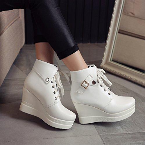 YE Damen High Heel Ankle Boots mit Plateau und Keilabsatz Schnürung Schnallen 10cm Absatz Stiefeletten Weiß