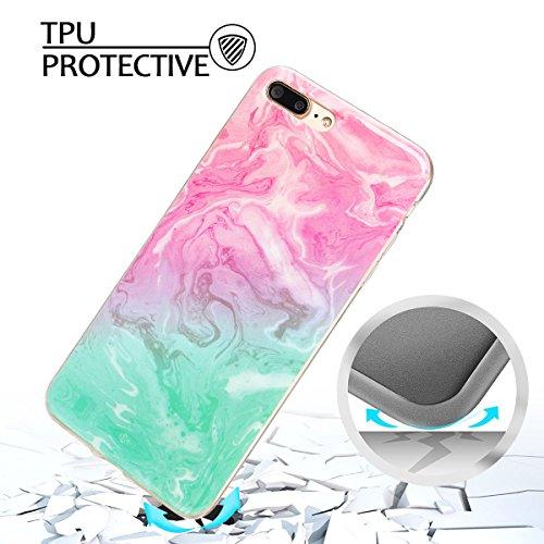 iphone 7 plus Hülle, Marmor Design Muster TPU Dünn Silikon Schutzhülle für iphone 7 plus , E-lush Kristallklar Durchsichtig Kratzfeste Handyhülle Ultra Chic Thin Weich Schutzhülle Rückschale Etui Bump grün