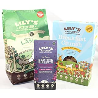 Natural, Holistic, Wholesome, Hearty, Artisan Lily's Kitchen Daytime Selection with two choices of either Springtime Lamb or Perfect Poultry with Chicken and DuckGrain Free Kibble x 1kg, 800g Breakfast Crunch 800g oven toasted nuggets full of prebiotic yoghurt, Organic Berries, seeds, and oats, Blissful Bedtime Biscuits x 1 100g, full of calming Botanicals to aid a goodnights sleep. (Lovely Lamb Parsley & Peas)