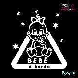 Artstickers Pegatina Bebe a Bordo, Beba a Bordo Estrellas Sticker - Blanco - 1 Unidad 14 cm x 13 cm. BABYFUN COLLECTIÓN Marca Registrada