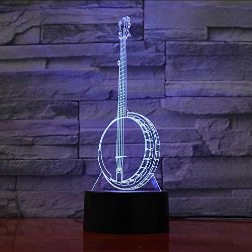 3D Led 7 Farben Ändern Kinder Geschenke Banjo Modellierung Schreibtischlampe Musikinstrumente Nachtlicht Wohnkultur Leuchten Schlafzimmer Lichter (Banjo Geschenke)