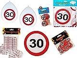 45-tlg. Partyset 30. Geburtstag Dekoset Dekobox - Verkehrschild - Tischdeko, Luftballons