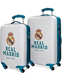 Real Madrid 5381661 RM Gol Juego de Maletas, 67 cm, 86 Litros, Blanco
