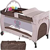 TecTake Portable Child Baby Travel Cot Bed Playpen with Entryway and Toys New - Different Colours - (Coffee | No. 402203)
