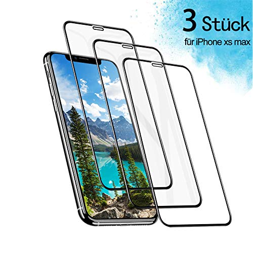 BHJDYDG Panzerglas für iPhone XS max Bildschirmschutz Folie HD Schutzfolie für iPhone XS max Panzerfolie 9H Härte 3D Vollständigen Abdeckung Anti-Kratzen Anti-Bläschen Anti-Öl
