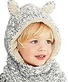 ELE GENS Baby Kinder Schlupfmütze Wintermütze Strickmütze Haube Beanie Mütze Schal Warm Jungen Mädchen (L)