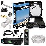 HD Camping Sat Anlage im Koffer von HB-DIGITAL:  Mini Sat Schüssel 40cm Hellgrau ➕ HD 250S Receiver ➕ UHD Single LNB 0,1 dB ➕ 10m SAT-Kabel inkl. F-Stecker  Full HD fähig