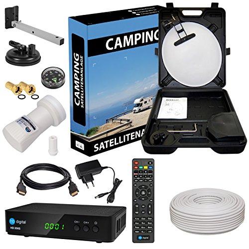 HD Camping Sat Anlage im Koffer von HB-DIGITAL: 📡 Mini Sat Schüssel 40cm Hellgrau ➕ HD 250S Receiver ➕ UHD Single LNB 0,1 dB ➕ 10m SAT-Kabel inkl. F-Stecker 💢 Full HD fähig 💢