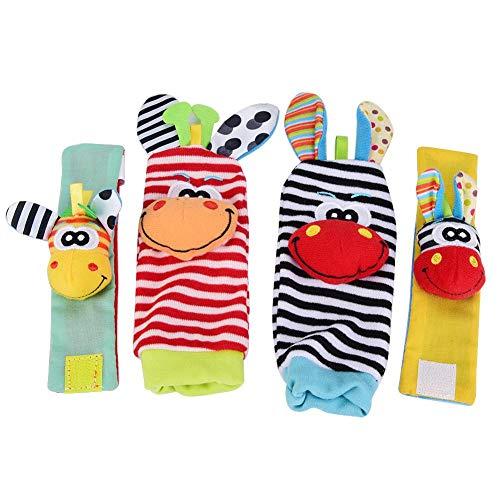 4 Stücke Baby Armband und Socken Rassel Spielzeug Set Cartoon Tier Plüsch Puppen mit Ring Glocke für Kleinkinder(#4) (Socke Affe-baby-puppe)