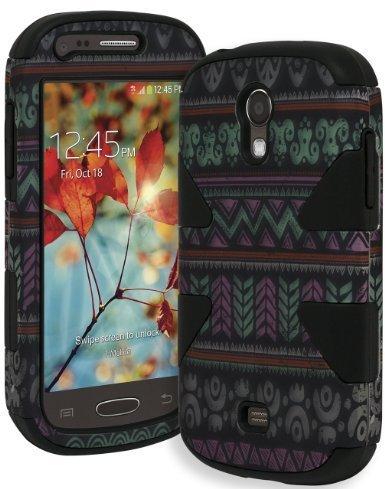 Bastex Heavy Duty Schwarz Hybrid Dynamic Case für Samsung Galaxy Light T399-Elegant Aztec Tribal mit Fishtail Design Bezug (Für Samsung Cover T399)