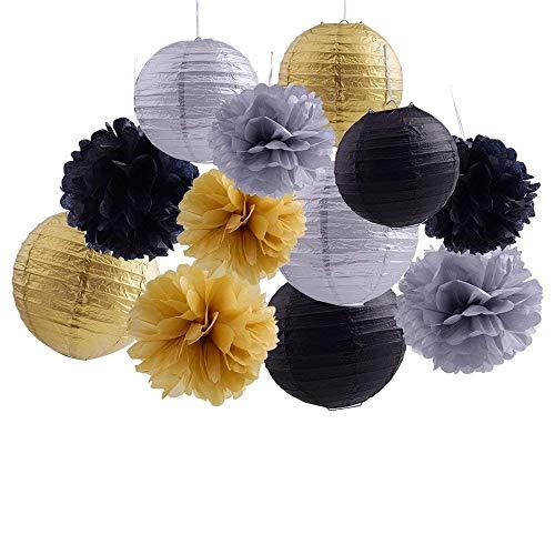 Dekorative Papier-Pompons mit Blumenapplikation, Wabenbälle, für Hochzeit, Geburtstag, Taufe, Mädchen, Babyparty, Dekoration