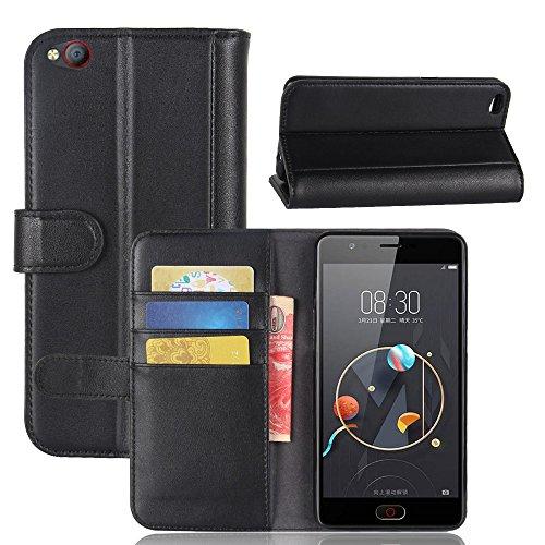 100% Kalbsleder Nubia N2 Handyhülle Book Case Nubia N2 Hülle Klapphülle Tasche im Retro Wallet Design mit Praktischer Aufstellfunktion - Etui Schwarz