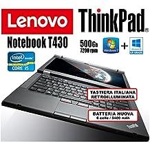 """Lenovo - Notebook ThinkPad T430 - Core i5, 4Gb RAM, 500Gb HHD, 14""""HD+ (1600x900) Con Batteria Nuova (Ricondizionato Certificato)"""