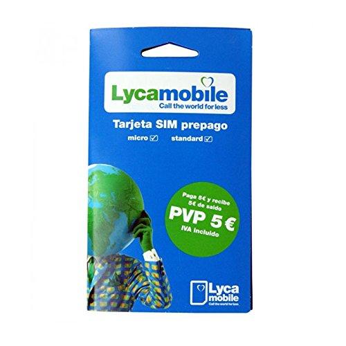 Tarjeta SIM de Lycamobile 5€ + 5€ de saldo (10€ en total) | Solo para usar en España | Requiere enviar DNI, NIE o Pasaporte para activarla