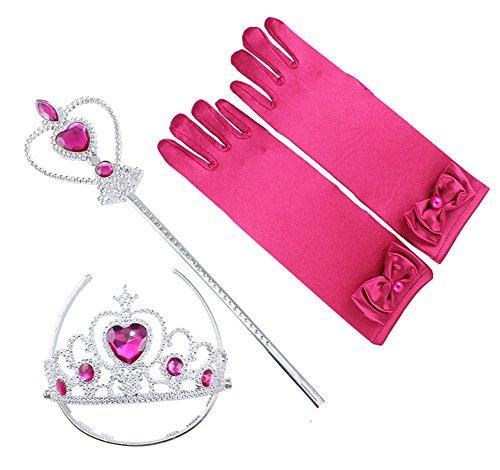 Fanryn Mädchen Bowknot Handschuhe Princess Satinhandschuhe,Zauberstab,Krone Diadem für Party-Fieber Kleid / Mädchen-Kostüm Karneval Verkleidung Party Mädchen-Geschenk (Cinderella Kostüme Für Jugendliche)