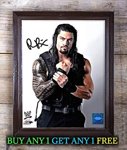 Reprintz Graphs Roman Reigns WWE Foto Nr. 83 mit Autogramm, 20,3 x 25,4 cm, einzigartiges Geschenk Freunde, Geburtstag, Weihnachten, Valentinstag, Vatertag, Muttertag Framed