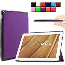 Infiland ASUS ZenPad 10 LTE Z300C Funda Case-Ultra Delgada Tri-Fold Smart Case Cover PU Cuero Smart Cascara con Soporte para ASUS ZenPad 10 (Z300C) (10,1 pulgadas) SM-T530 SM-T535 Tablet-PC (con Auto Reposo / Activación Función)(Púrpura)