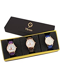 YGREEN Fashion Women's & Girl's Combo Of 3 Watch - Lui-Pink And Gray Blue
