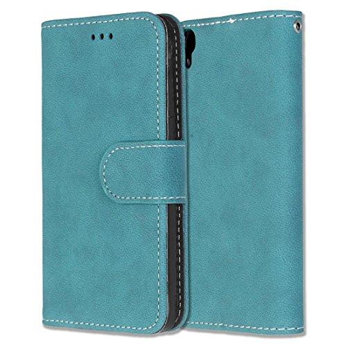 Alcatel One Touch Idol 3 (4.7) Hülle, Chreey Matt Leder Tasche Retro Handyhülle Magnet Flip Case mit Kartenfach Geldbörse Schutzhülle Etui [Blau]