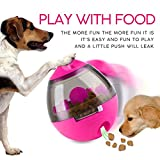 Semoic Bola Juguete dispensador de alimento para Perro Mascota Forma de volteador Creativo Juguete para Masticar Bola de Comida gaseosa Juguete de Entrenamiento IQ Juguetes inctivos Rosado