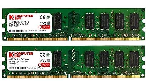 Komputerbay 8Go (2x4Go) DDR2 667MHz PC2-5300 PC2-5400 Mémoire DDR2 667 (240 PIN) DIMM bureau