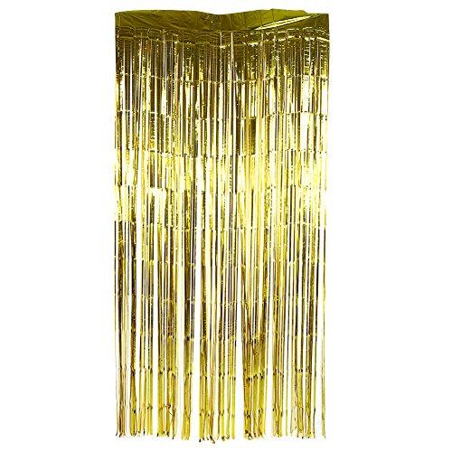 GLOGLOW Metallische Lametta Folie Fringe Vorhänge für Party Supplies Requisiten Abschluss Bachelor Geburtstag Hochzeit Hintergrund(2M Gold) (Gold Fringe Hintergrund)