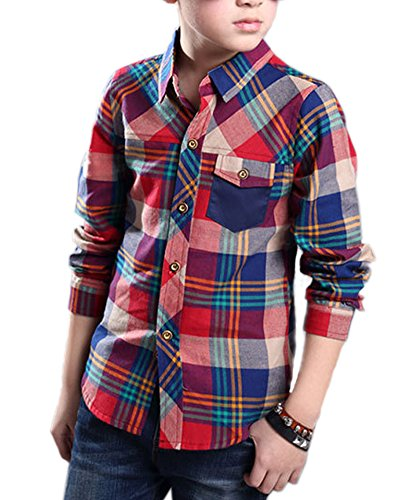 Zhuannian Boys Checks Long Sleeve Shirts (8-9, Red)