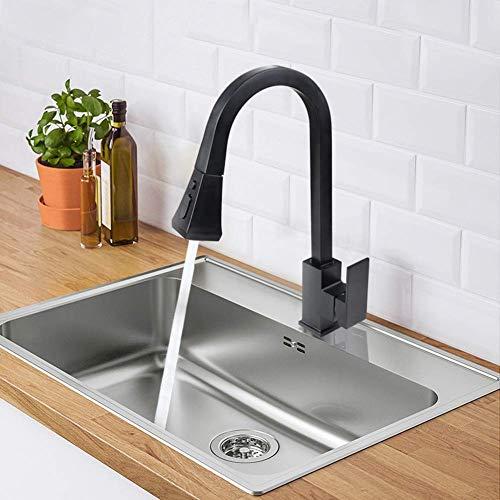 XIAOTAP Spülbecken Wasserhähne Gebürstet Nickel Wasserhahn 360 Grad Drehbare Ausziehbare Sprayer Single Pole Küchenarmatur -