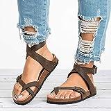 QIMITE Zapatos con Flip-Flop Sandalias Planas Sandalias Zapatos de Verano para Mujeres Sandalias Planas para Playa Más el tamaño 43 Chancletas Casual Caqui, Color de Foto, 41