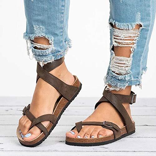 QIMITE Zapatos con Flip-Flop Sandalias Planas Sandalias Zapatos de Verano para Mujeres Sandalias Planas para Playa Más el tamaño 43 Chancletas Casual Caqui, Color de Foto, 37