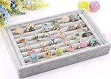 Mogoko Elegant Velvet 7 Slots Jewelry Display Tray Jewelry Organizer Box, Rings Earrings Bracelets Necklaces Storage Holder (Gray)