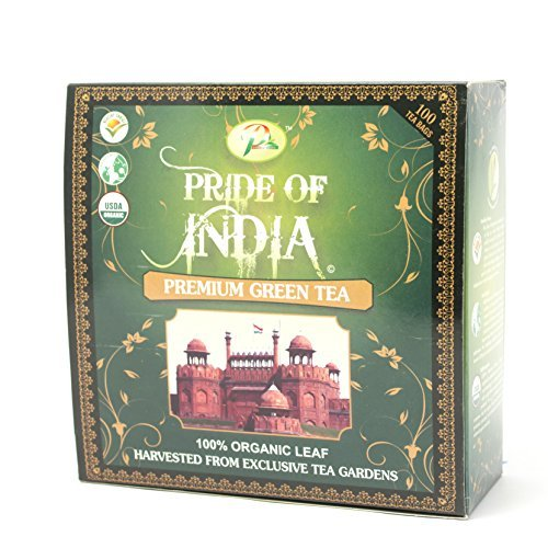 Pride Of India - Organic Indian Green Tea, 100 Tea Bags