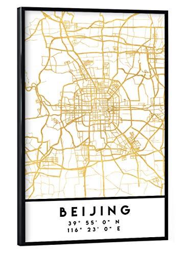 artboxONE Poster mit schwarzem Rahmen 30x20 cm Städte Beijing China Street MAP Art - Bild Beijing China Peking