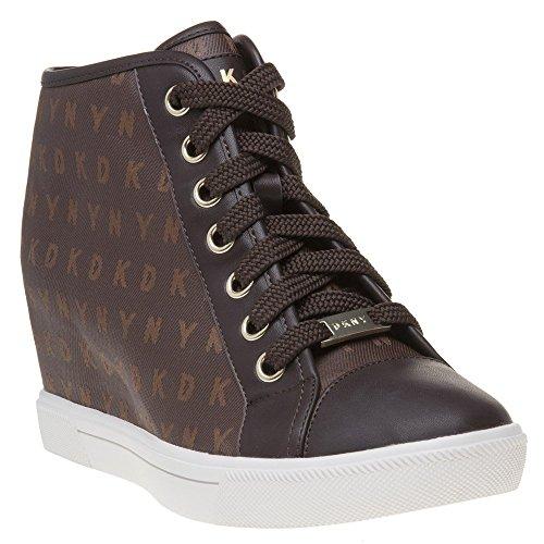 DKNY Cindy Sneaker Wedge Femme Baskets Mode Marron