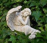 Engel träumend aus Polyresin grau 24 cm
