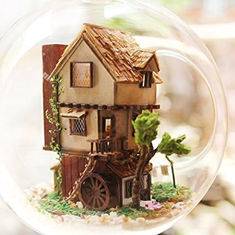 Zyurong Mini isla vidrio del bosque de madera casa creativo DIY Handcraft edificio juguetes con activada por voz