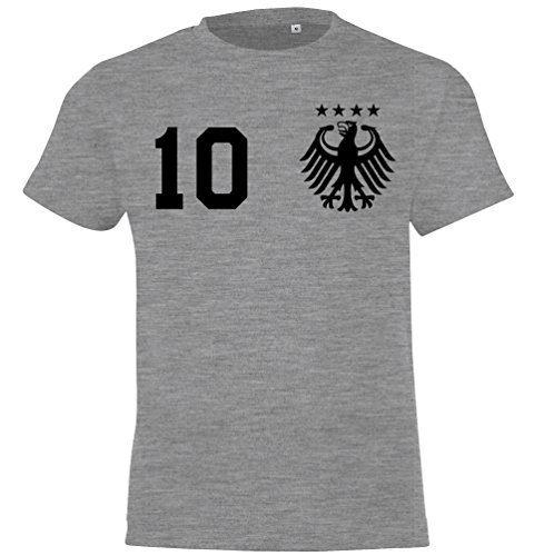 WM Deutschland Kinder Fan T-Shirt Trikot Beidseitig Bedruckt mit Wunschname & Zahl, Grau, Gr. 106/116 (6 Jahre)