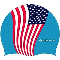 Gorro de natación de Silicona con diseño de bandera de EE. UU.