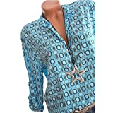 WWricotta Damen Streifen Bluse Langarmshirt Strickjacke Kimono Cardigan Cover up Patchwork Outwear Große Größen S-3XL