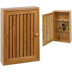 Vetrineinrete® Cassetta portachiavi 8 posti in legno bamboo porta chiavi da parete muro box A29