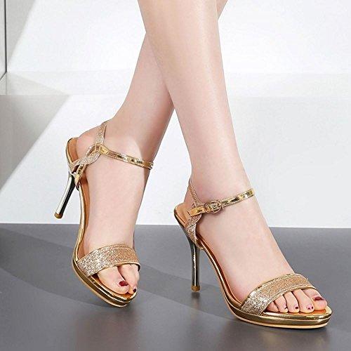 COOLCEPT Femme Mode Sangle De Cheville Sandales Bout Ouvert Slingback Talon Aiguille Chaussures Or