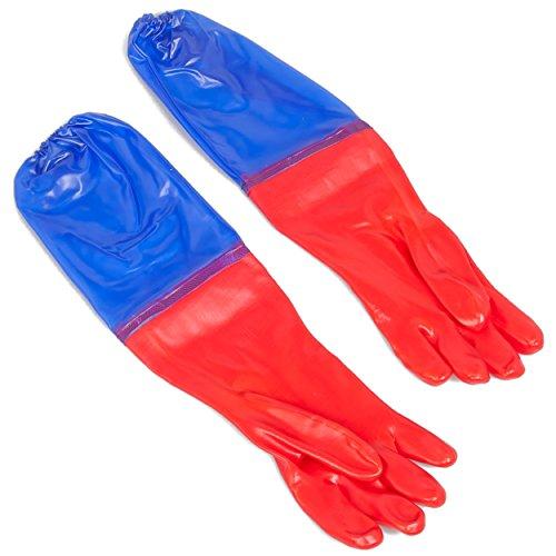 Wasserdichte Handschuhe 65 cm lang rot/blau (Schutzhandschuhe für Gartenarbeit, Aquarium und Teich) (Rot Band Schuhe)