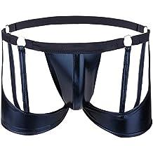 YIZYIF M-XL Lencería Cuero Bóxer Calzoncillos Cortos Ropa Interior Para Los Hombres